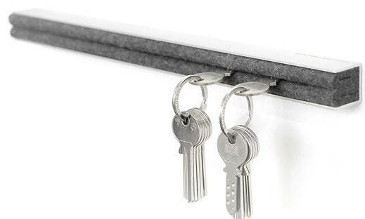 Aluminium filz wolle qualität schlüssel aufbewahrung multifunktionale design leiste transparent eloxiert silber silver
