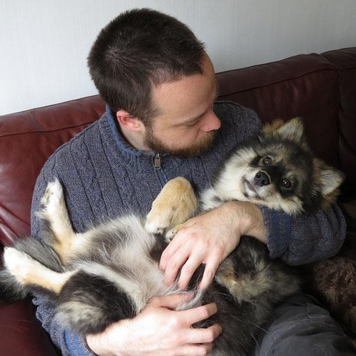 Colin van Elderen en Dinja als puppy
