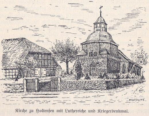 Zeichnung von Alfred Schulze mit der Luthereiche aus dem Jahr 1924