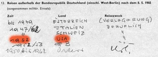 Amtlicher handgeschriebener Reise-Nachweis von Erwin Komenda /  Komenda's handwritten official proof of travel
