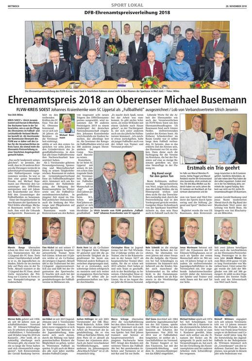 Bericht Soester Anzeiger vom 28.11.2018