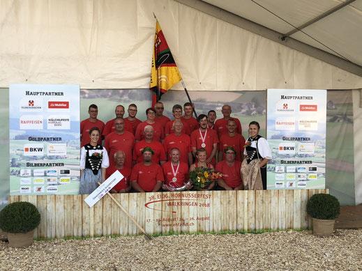 Mannschaftsfoto vom Eidg. Hornusserfest 2018 in Walkringen