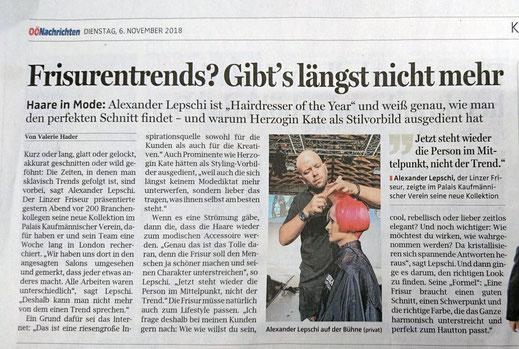 Oberösterreichische Nachrichten mit Lepschi&Lepschi Hairdressing - Friseurentrends? Gibt´s längst nicht mehr