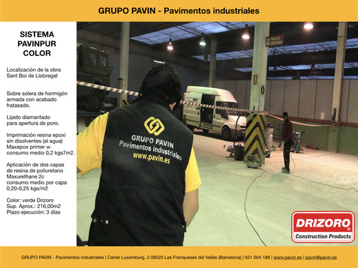 GRUPO PAVIN - Pavimentos industriales   Sistema Pavinpur color con Drizoro   Lijado y aspiración industrial con diamante