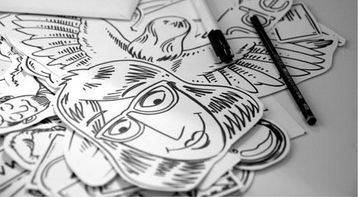 zeichnung - frau mit brille