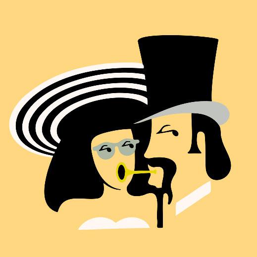 Illustration zweier Köpfe, sehr minimalistisch 2 dimensional gestaltetes Portrait in schwarz gelb und weiss