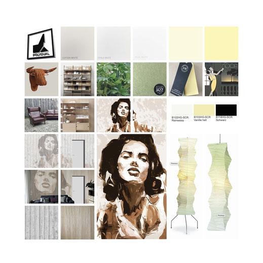 Moodboard mit Gestaltungsvorschlägen in gelb, grün, beige, braun. Kundenspezifisches Grafikdesign Akustelemnete, Farbvorschläge