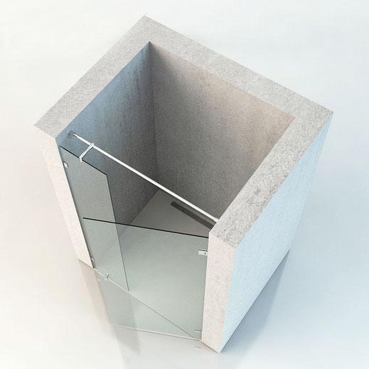 Nischendusche mit Glastür