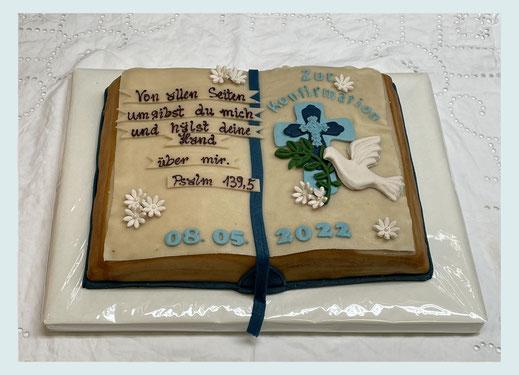 Torte Konfirmation Kommunion, Tortendekor mit Konfirmationsspruch, Marzipan,