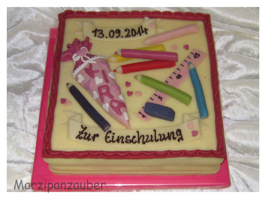 Torte zur Einschulung, Einschulungstorte, erster Schultag cake, Marzipantorte zum Schulanfang, Marzipanzauber