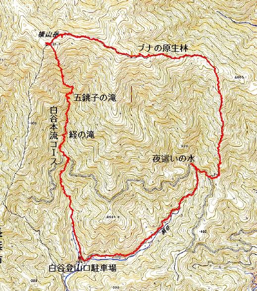 横山岳コースマップ