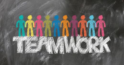 "Schriftzug auf Tafel ""Teamwork"""