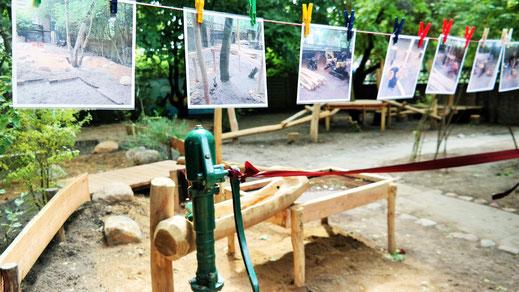Bilder an Leine- Aus den Bildern die während der Bauarbeiten entstanden sind, wird ein XXL Puzzel für die Kids.