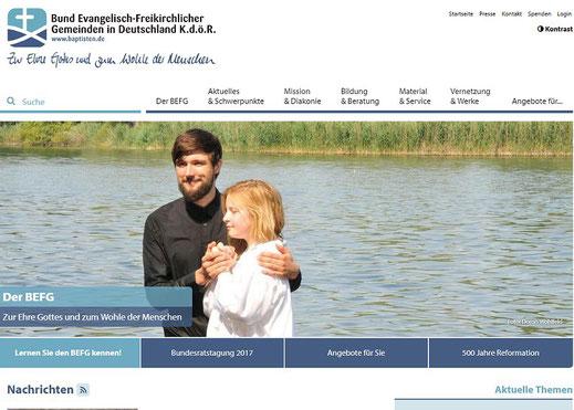 Homepage des BEFG in Deutschland