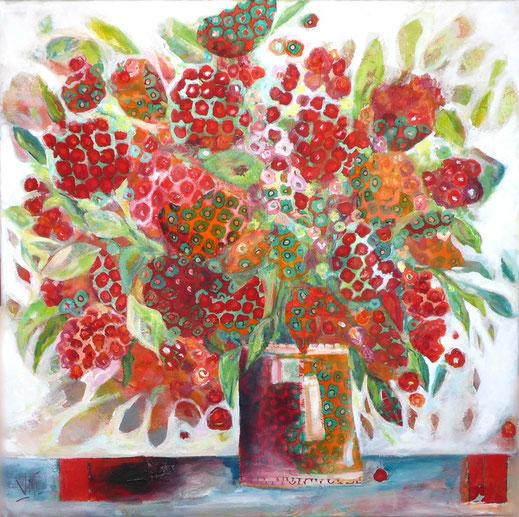 Mit Stoff und Acrylfarben einen Blumenstrauß malen