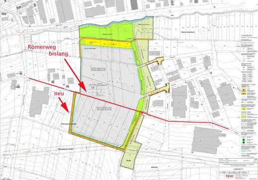 Entwurf Bebauungsplan 4.4.2019 mit geplanter U-Umfahrung der Fabrik