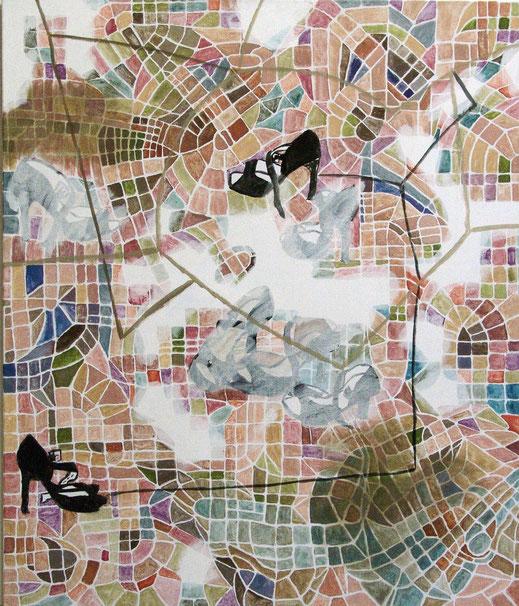 """Eva Hradil aus der Serie """"Kleine Selbstgespräche"""" 2015, Eitempera auf Halbkreidegrund, 130 x 110 cm"""