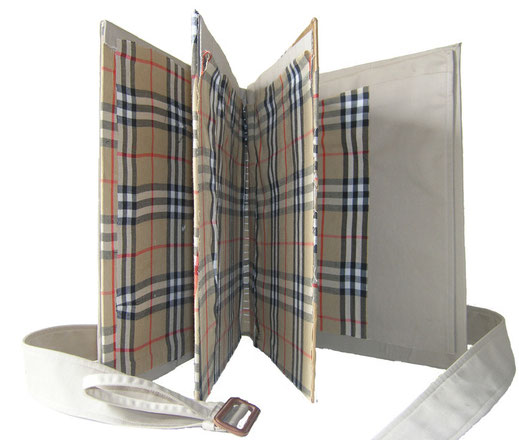 "Eva Hradil ""Burberry-Buch"" 2009 Burberry Mantel, Karton, Buchbinderleim"