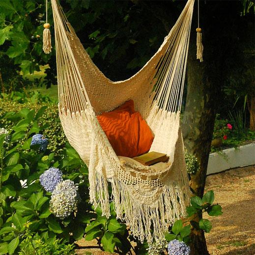 chaise hamac crochet coton