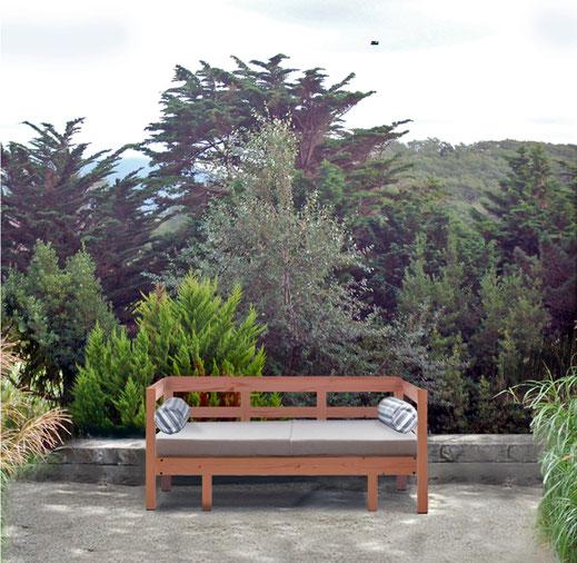 banquette bois jardin