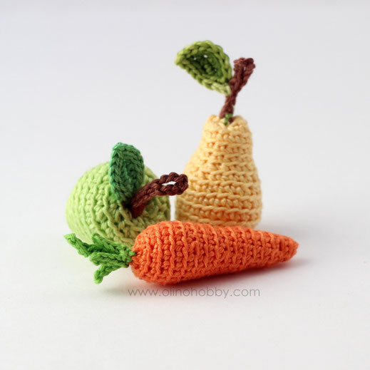 Olinohoby: вязаные мини фрукты и овощи. Crochet mini fruits, carrot.