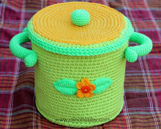 Вязаная кастрюля OlinoHobby. Crochet pot by OlinoHobby.