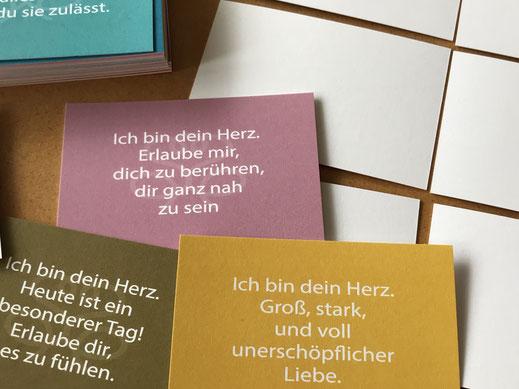 Therapiekarten, einseitig farbig mit Textbotschaft bedruckt, Rückseite blanko zum Selbermalen