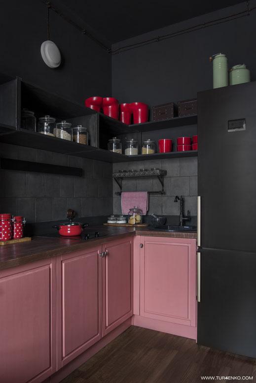 интерьер кухни-гостиной в стиле лофт 89163172980