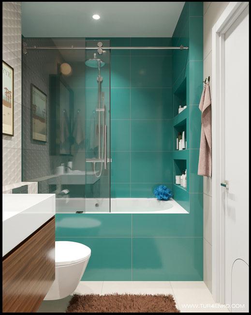 яркая плитка в интерьере ванной комнаты в ЖК Среда 89163172980
