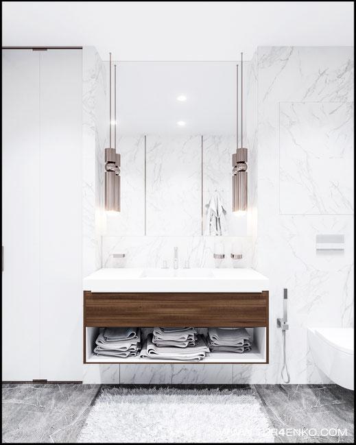 плитка под мрамор в интерьере ванной комнаты в ЖК Триколор 89163172980