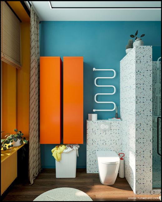 современный дизайн ванной в ярких тонах 89163172980