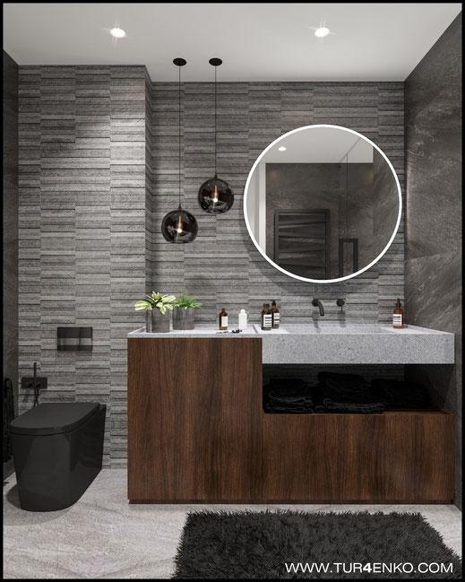 """дизайн ванной комнаты в ЖК """"Савеловский сити"""" 89163172980"""