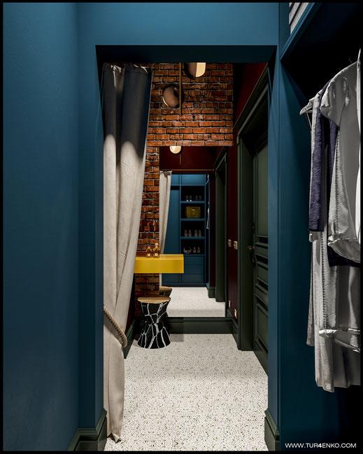 дизайн прихожей и гардеробной в стиле винтажный лофт 89163172980