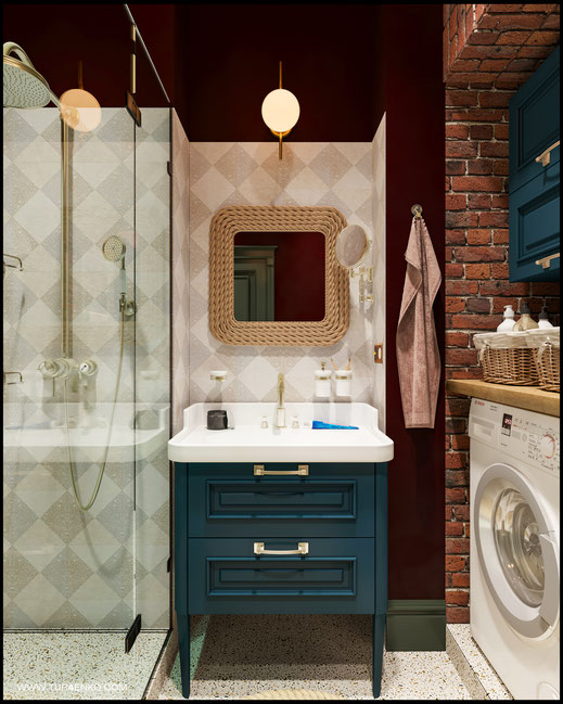 дизайн ванной в стиле винтажный лофт 89163172980