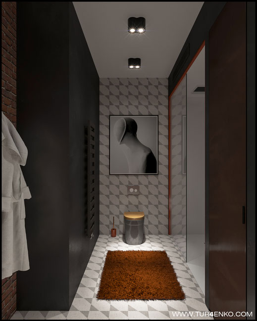 дизайн ванной комнаты в стиле лофт в ЖК Арт 89163172980