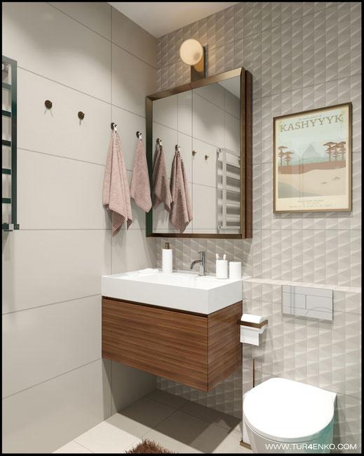 дизайн ванной комнаты в ярких тонах  в ЖК Среда 89163172980