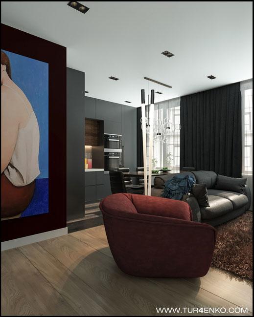 """дизайн кухни-гостиной в современном стиле в ЖК """"Савеловский сити"""" 89163172980"""