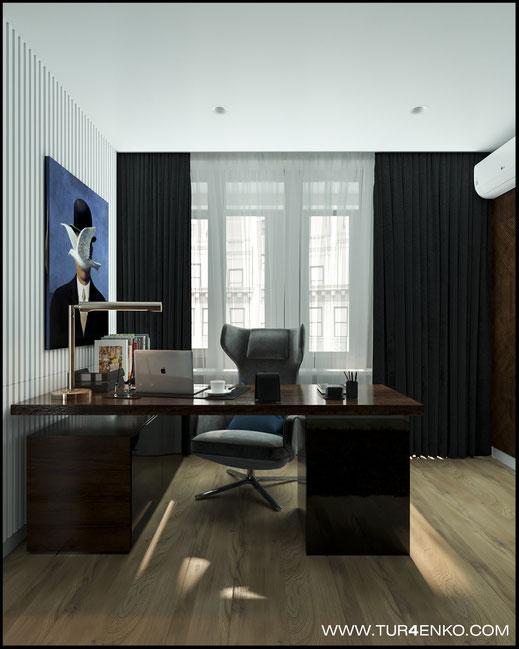 """дизайн домашнего кабинета  в современном стиле в ЖК """"Савеловский сити"""" 89163172980"""