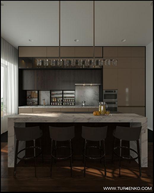 дизайн кухни в современном стиле в загородном доме 89163172980