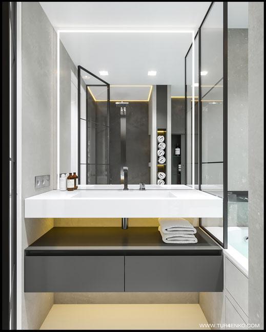 Дизайн двухуровневой квартиры в ЖК Солнечная система www.tur4enko.com