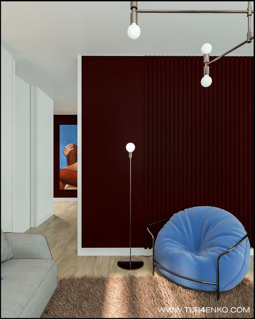 """дизайн гостевой комнаты в современном стиле в ЖК """"Савеловский сити"""" 89163172980"""