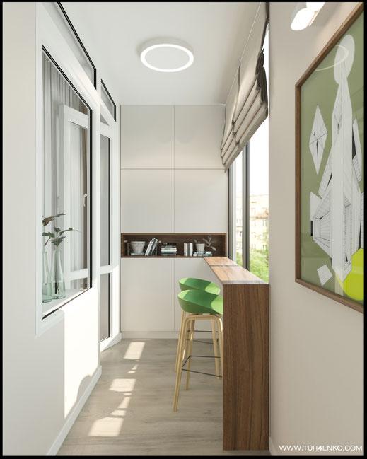 дизайн балкона в ЖК Летний сад 89163172980 www.tur4enko.com