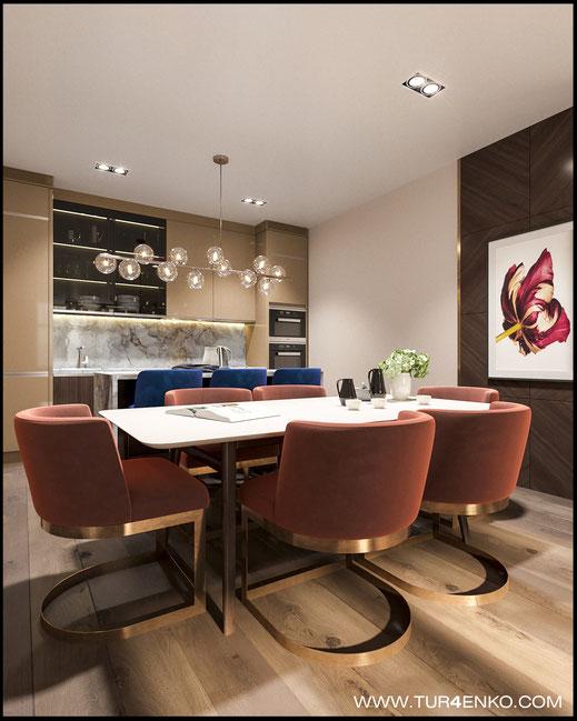 интерьер кухни в современном стиле в ЖК Триколор 89163172980