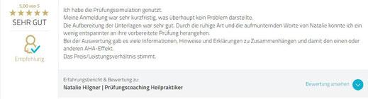 Bewertung Natalie Hilgner Prüfungssimulation Heilpraktikerprüfung