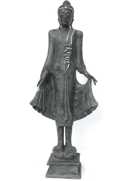 Buddha-Statue, auf Podest, grau, 166cm
