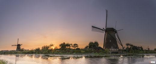 Panorama zonsondergang Kinderdijk
