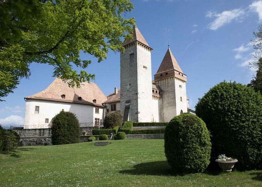 Im Prak des vom Schloss La Sarraz Schweiz