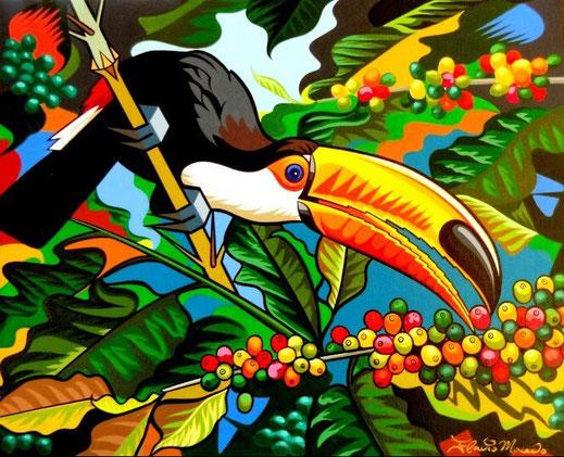 """Tucano no cafezal"" (2014) de Flavio Macedo - Peinture sur toile - 80 cm x 60 cm - 1 100 €"