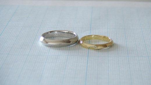 Pt900/K18手作り結婚指輪「包み込むライン」