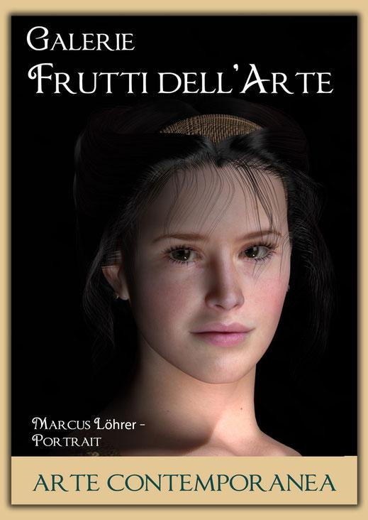 Plakatdesigen Entwurf Portrait 3 für die Galerie Frutti dell'Arte auf der Aachener Kunstroute 2016